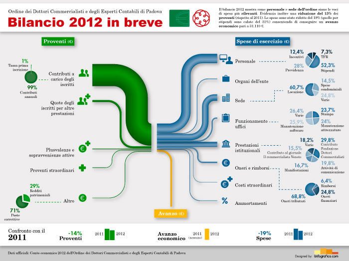 Questa infografica mostra il bilancio ODCEC 2012