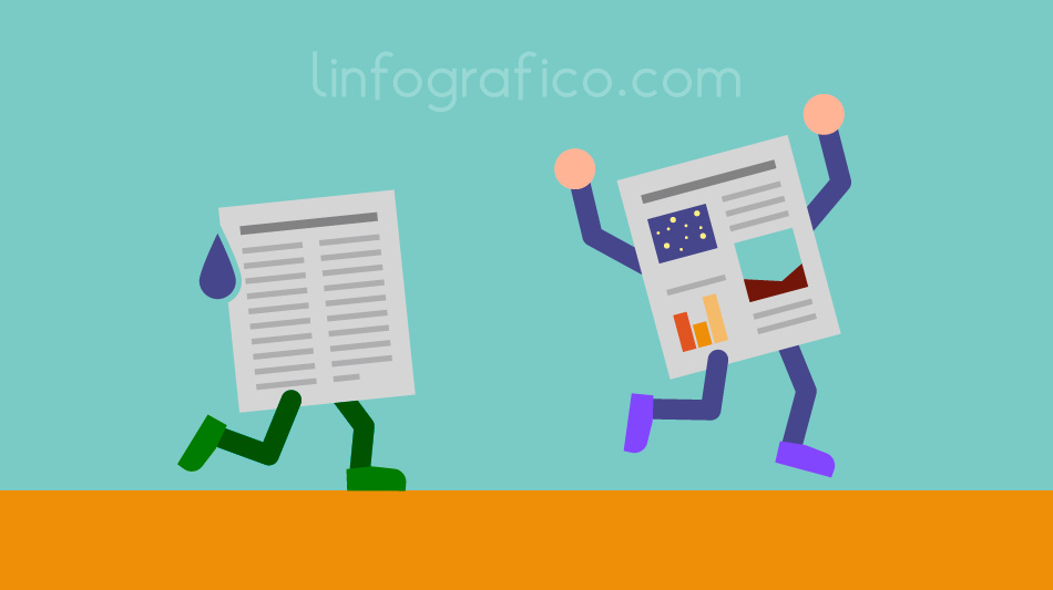 Illustrazione con due documenti che gareggiano, vince quello contenente grafica e immagini