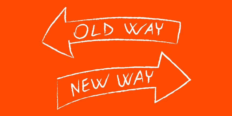 L'immagine rappresenta due frecce che puntano verso la vecchia e la nuova soluzione